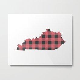 Kentucky Plaid in Pink Metal Print