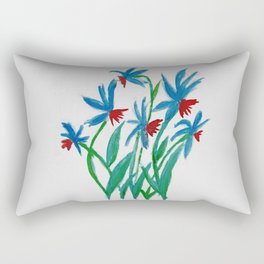 Hand painted watercolor floral blue and red flowers Rectangular Pillow