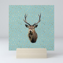 Highland Stag on turquoise and gold raindrop pattern Mini Art Print