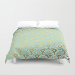 Art Deco Mermaid Scales Pattern on aqua turquoise with Gold foil effect Duvet Cover