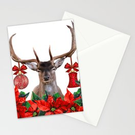 Moose Reindeer Poinsettia Christmas Flowers - white Stationery Cards