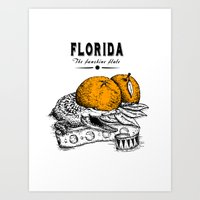 florida Art Prints featuring Florida by Krikoui