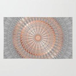 Rose Gold Gray Mandala Rug