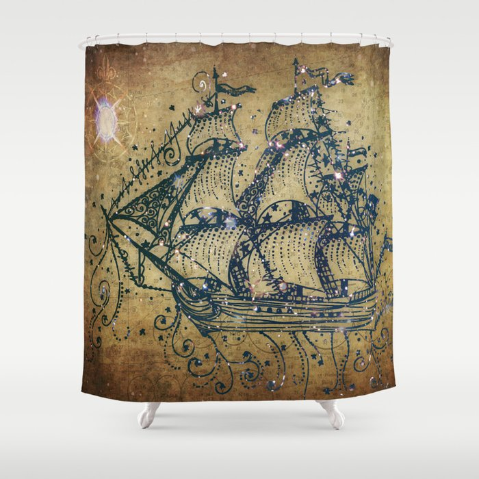 The Great Sky Ship Shower Curtain