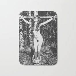 In the woods - black and white bondage, sexy slave girl erotic nude, tied, crucified naked woman Bath Mat
