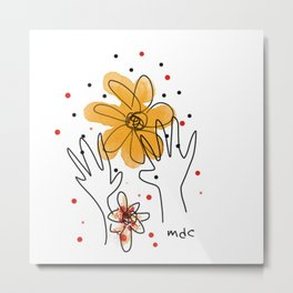 HAND AND FLOWERS Metal Print
