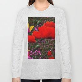 ORANGE ORIENTAL POPPIES & YELLOW BUTTERFLIES Long Sleeve T-shirt
