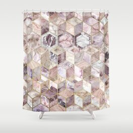 Blush Quartz Honeycomb Shower Curtain