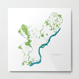 Philadelphia Map - Green Spaces Philly Parks Metal Print