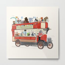 the big red party bus Metal Print