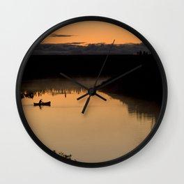 Canoeing at Dusk Wall Clock