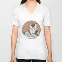 snow leopard V-neck T-shirts featuring Snow Leopard by Diana Hope