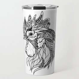 ROOSTER head. psychedelic / zentangle style Travel Mug