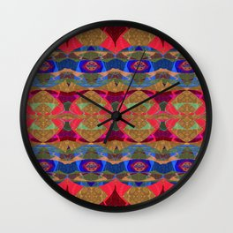 Glowing Geometric Tapestry Pattern Wall Clock