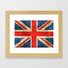 Vintage Aged and Scratched British Flag Framed Art Print