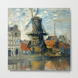 "Claude Monet ""The Windmill, Amsterdam"", 1871 Metal Print"