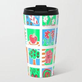 Apples Flowers and Mushrooms Mini Doodle Art - White Travel Mug