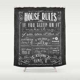 House Rules Retro Chalkboard Shower Curtain