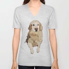 Golden Retriever dog Unisex V-Neck