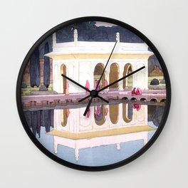 Shalimar Garden, Lahore by Yoshida Hiroshi - Japanese Vintage Ukiyo-e Woodblock Painting Wall Clock