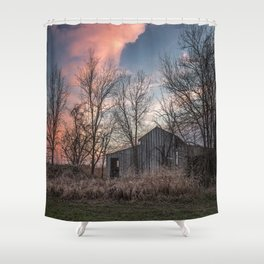 Evening Shade - Old Barn Hidden in Trees at Sunset in Kansas Shower Curtain