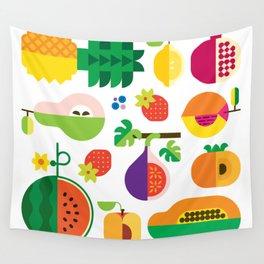 Fruit Medley White Wall Tapestry