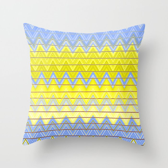 Simple Yellow Grey And Periwinkle Blue Zig Zag Modern Throw Pillow