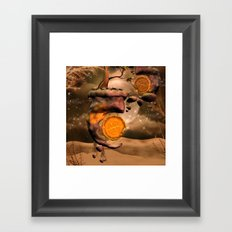 Fantasy world with flying rocks with clocks Framed Art Print