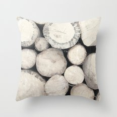 Stack of Wood Throw Pillow