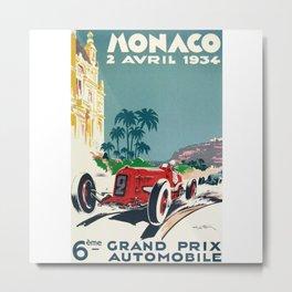 Grand Prix Monaco, 1934, vintage poster Metal Print