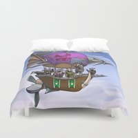 led zeppelin Duvet Covers featuring Badgers on a Zeppelin by Squeazl