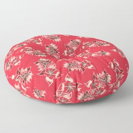 Boho red floral pattern hand drawn Floor Pillow