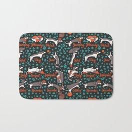 Dachshund year - lettering pattern Bath Mat