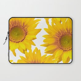 Large Yellow Sunflowers White Background #decor #society6 #buyart Laptop Sleeve