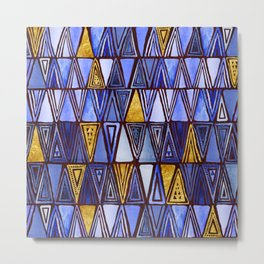 Indigo Blue Gold Tribal Ethnic Triangles Pattern Metal Print