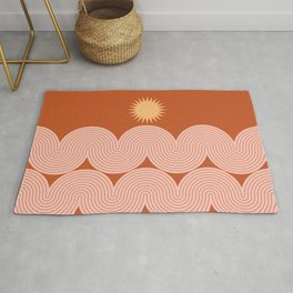 Mid Century Modern Geometric 48 in Sun and Sea Abstraction Rug