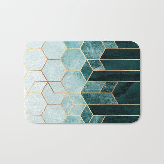 Teal Hexagons Bath Mat