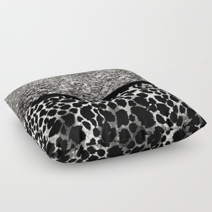 Animal Print Leopard Silver and Black Floor Pillow by saundramyles Society6