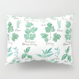green herbs family watercolor Pillow Sham