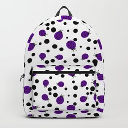 Purple Ladybugs and Black Dots Backpack