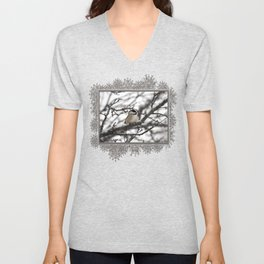 Winter Windblown Black-Capped Chickadee Unisex V-Neck