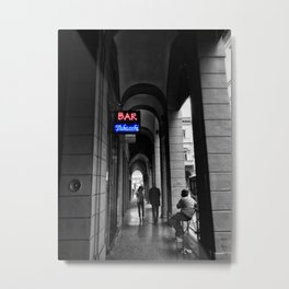Bar Tabacchi in Bologna Black and White Color Splash Photography Metal Print