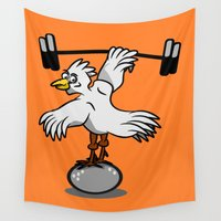 fitness Wall Tapestries featuring Chicken lifting weights by mailboxdisco