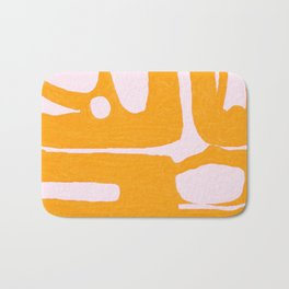 Abstract in Yellow and Cream Bath Mat