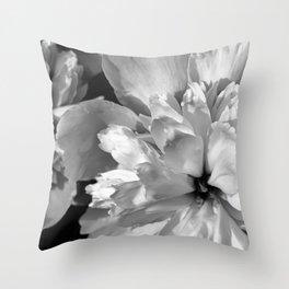 Black & White Peonies Throw Pillow