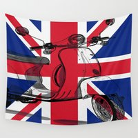 british flag Wall Tapestries featuring British Flag Scooter by Hello Tokyo Go Go