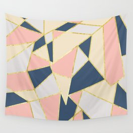 Girly Geometric Triangles with Faux Gold Wall Tapestry