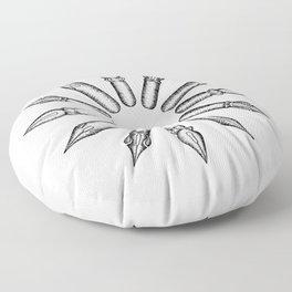Dip Pen Nibs Circle (Black and White) Floor Pillow