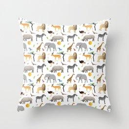 Safari Savanna Multiple Animals Throw Pillow