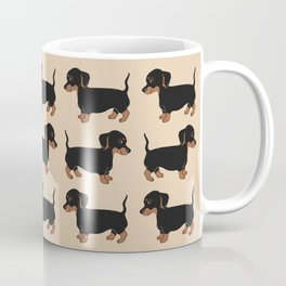 Black and Brown Dachshunds Pattern Coffee Mug